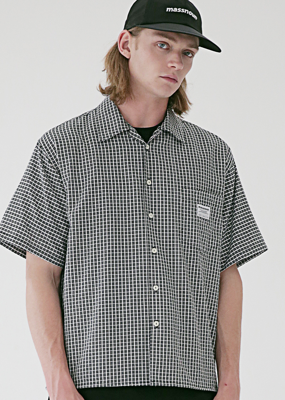 SL LOGO BASIC SM CHECK SHIRTS MSEST007-BK