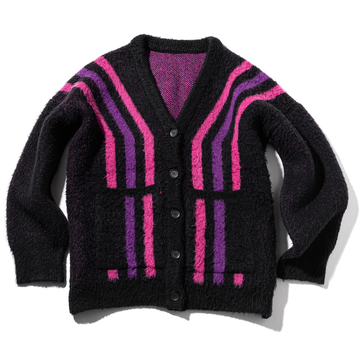 STRIPES WOOL MOHAIR CARDIGAN MWZCD001-BK