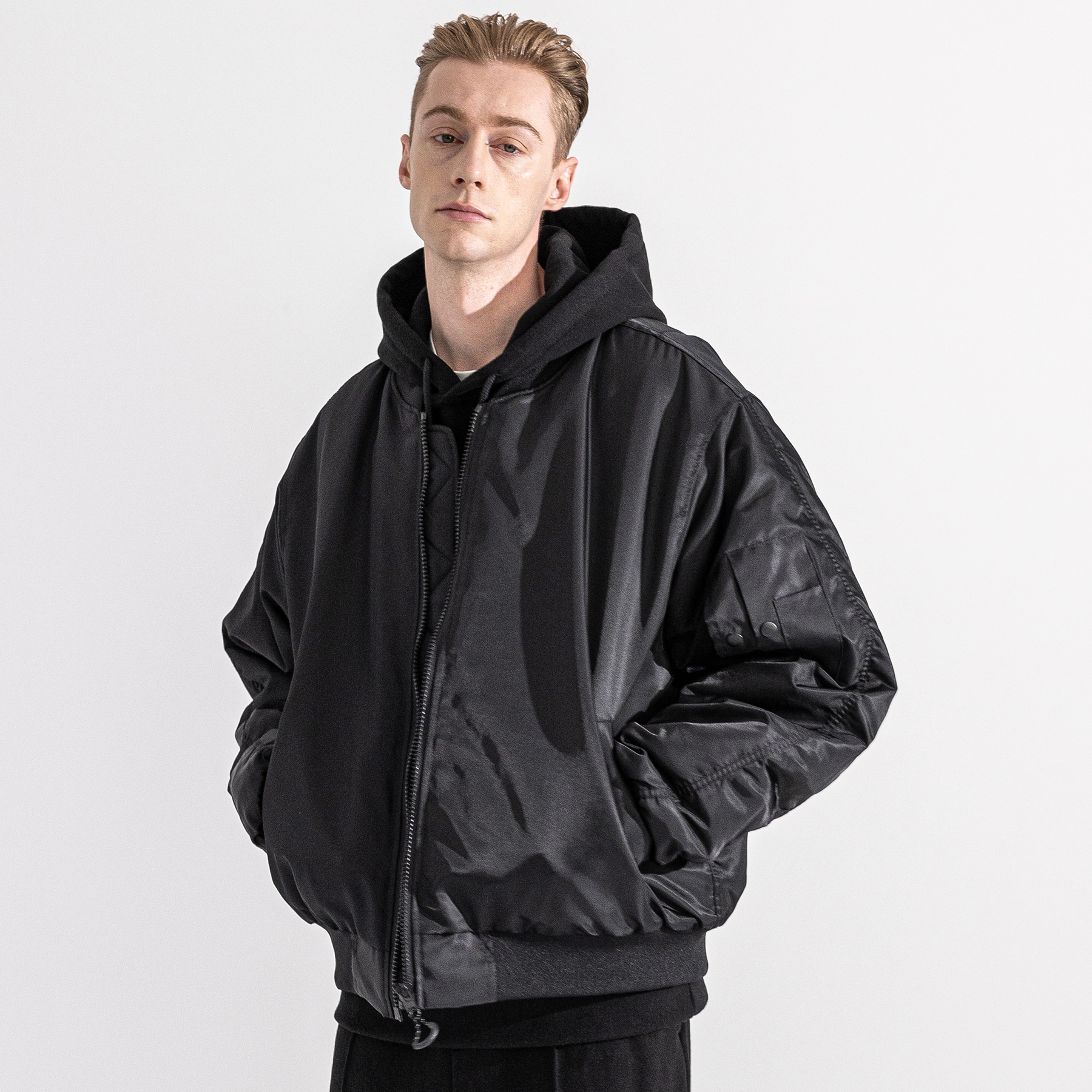 6OZ SHIRRING OVERSIZED MA-1 JACKET MWZPD002-BK