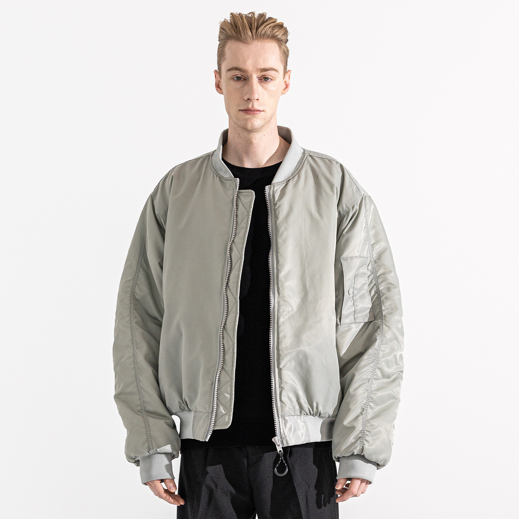 6OZ SHRRING OVERSIZED MA-1 JACKET MWZPD002-GY