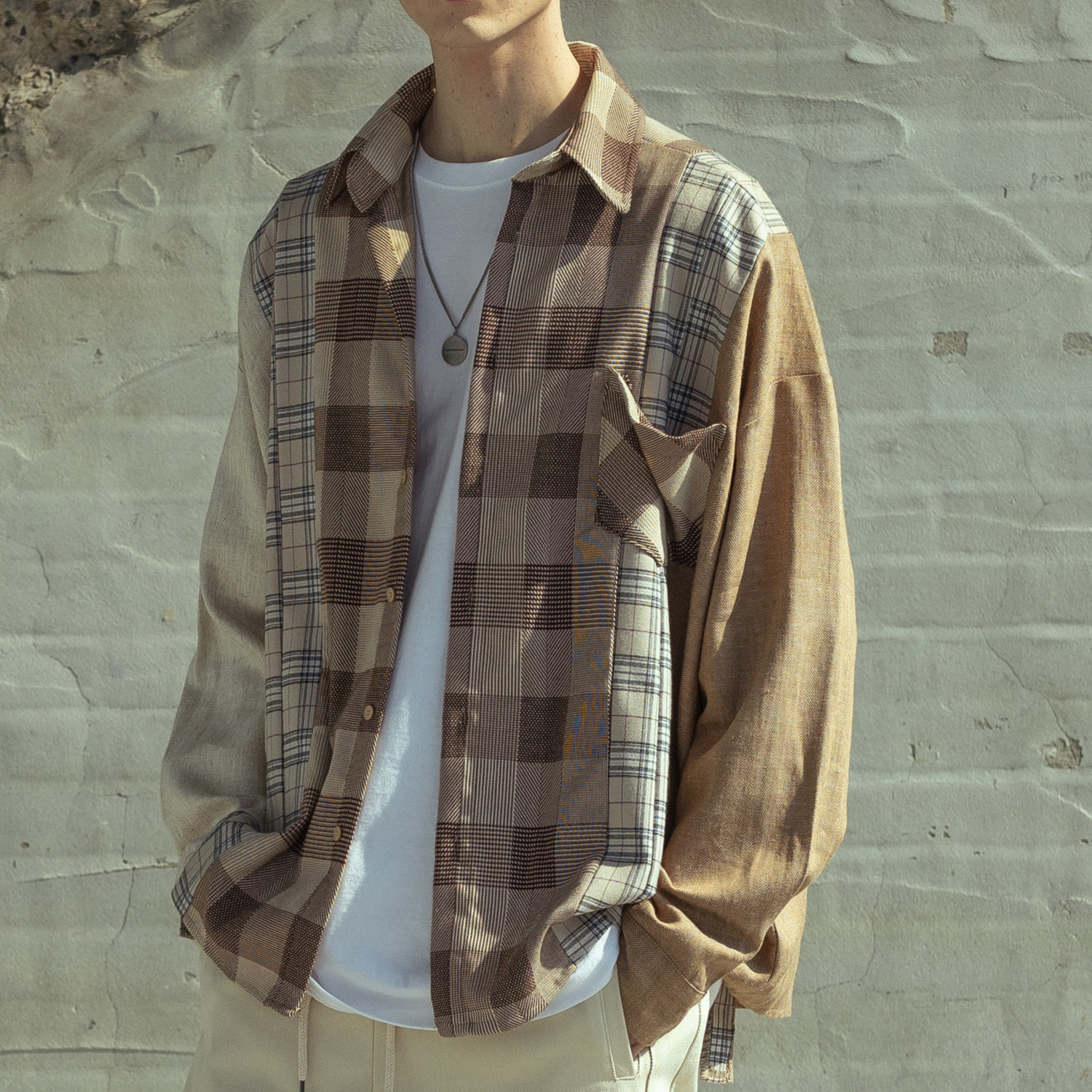(10%)MULTI CHECK OVERSIZED SHIRTS MSOST003-BG