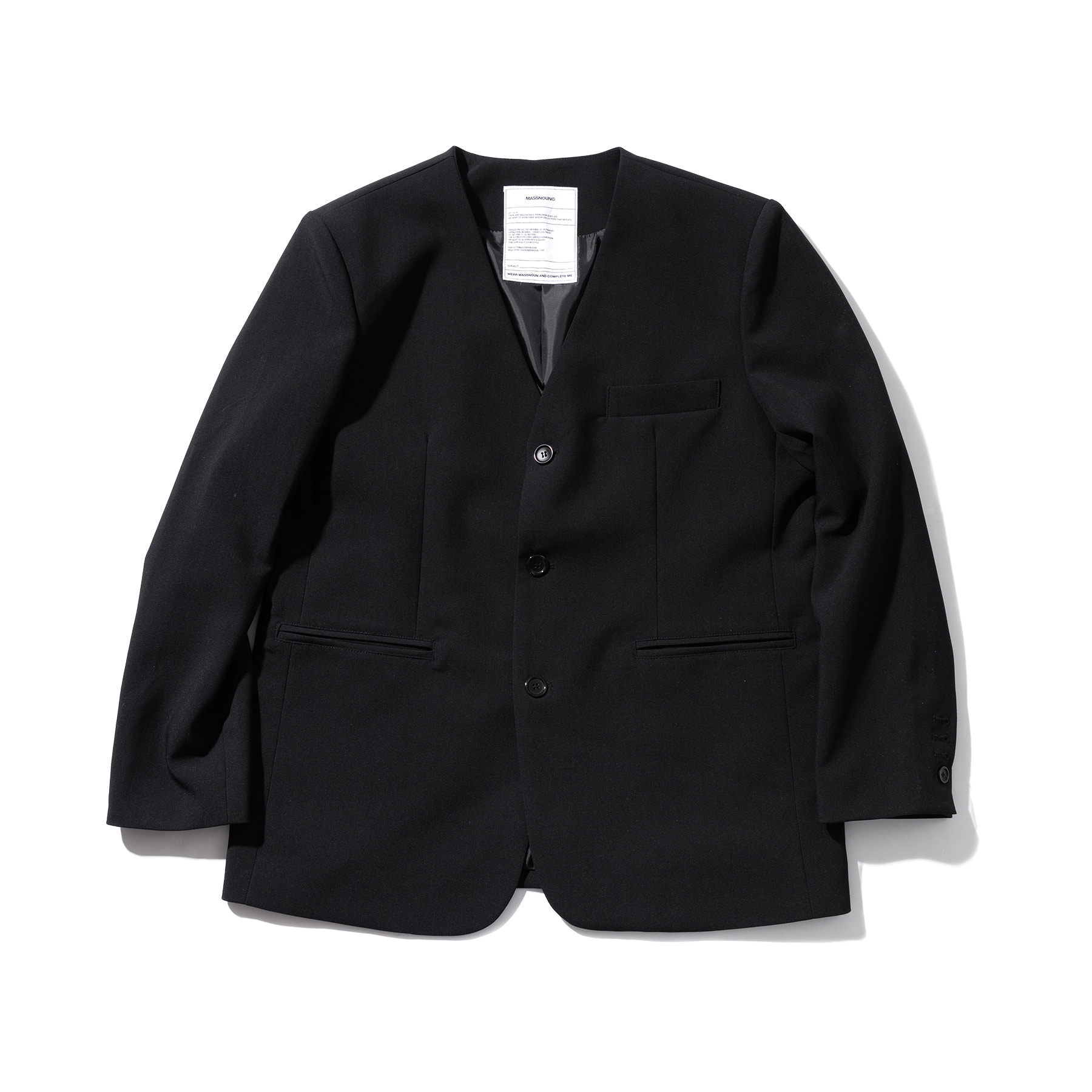 (30%)COLLARLESS OVERSIZED BLAZER JACKET MSOJK005-BK