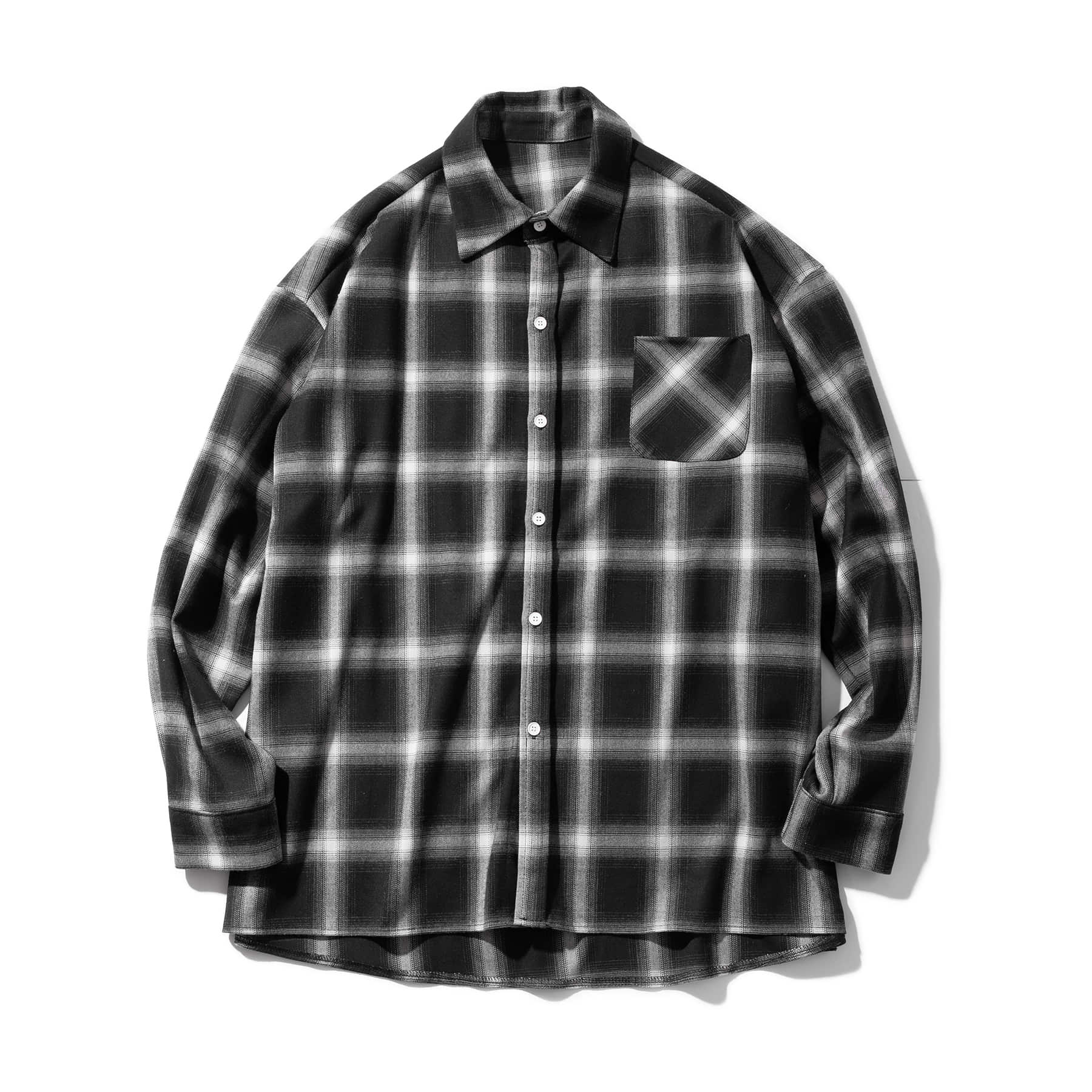 (10%)OVERFIT CHECK SHIRTS MSOST004-BK