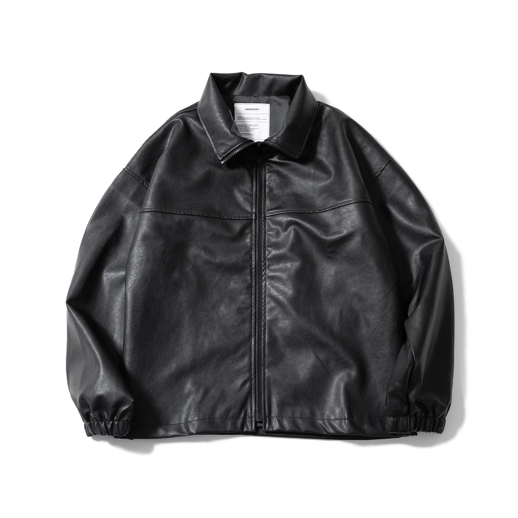 (30%)VEGAN LEATHER OVER ZIP-UP JACKET MSOLJ002-BK