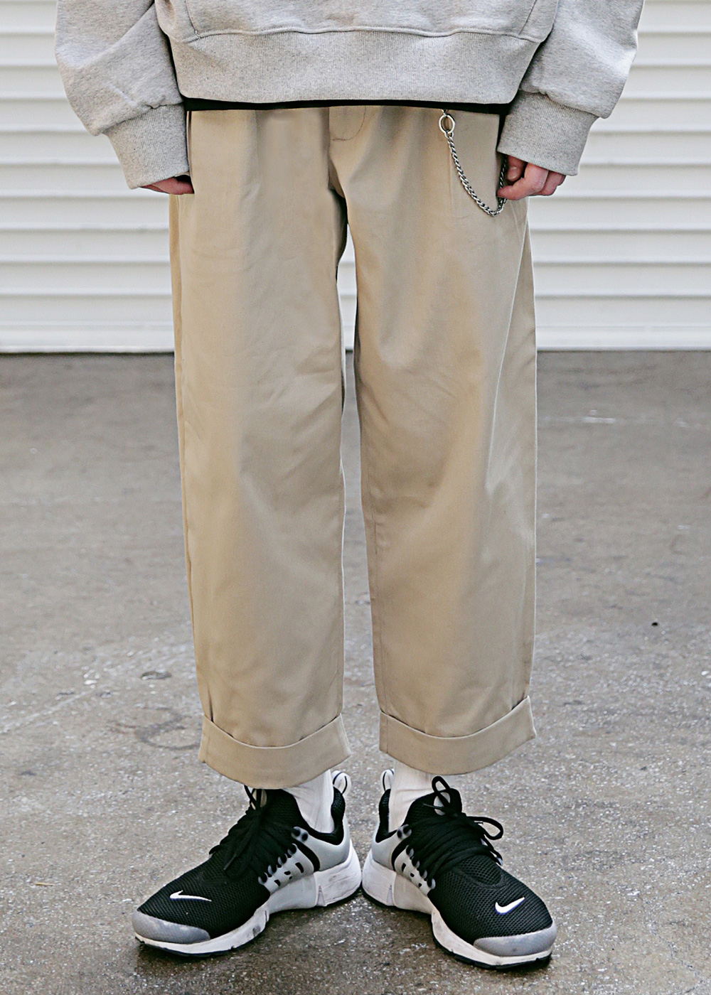 TURN-UP WIDE CHINO PANTS MSECP003-BG