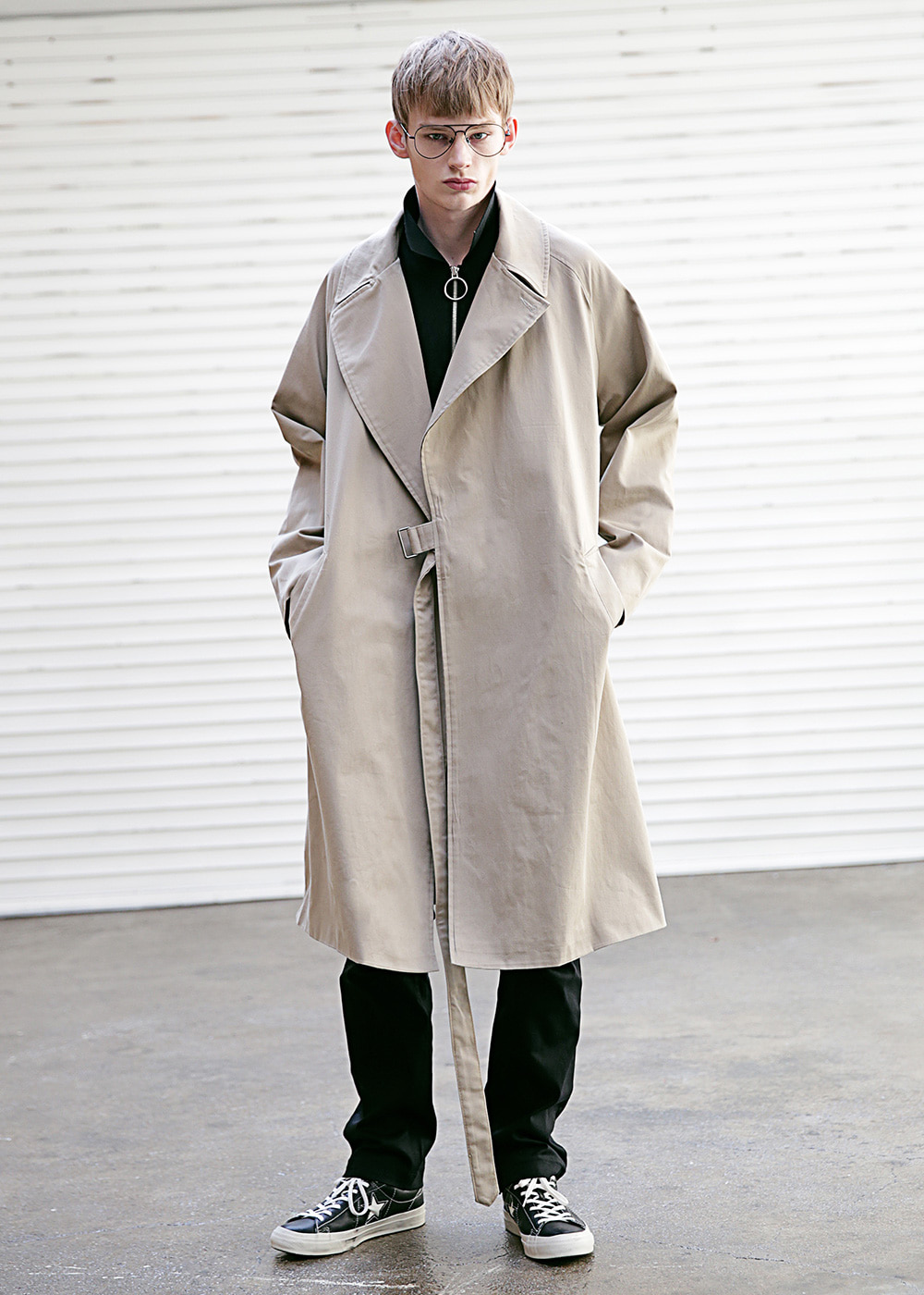 D OVERSIZED RAGLAN TRENCH COAT MSECT001-BG