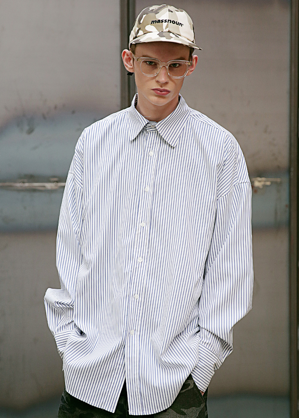 MS STRIPE OVER-FIT SHIRTS MSEST004-NV