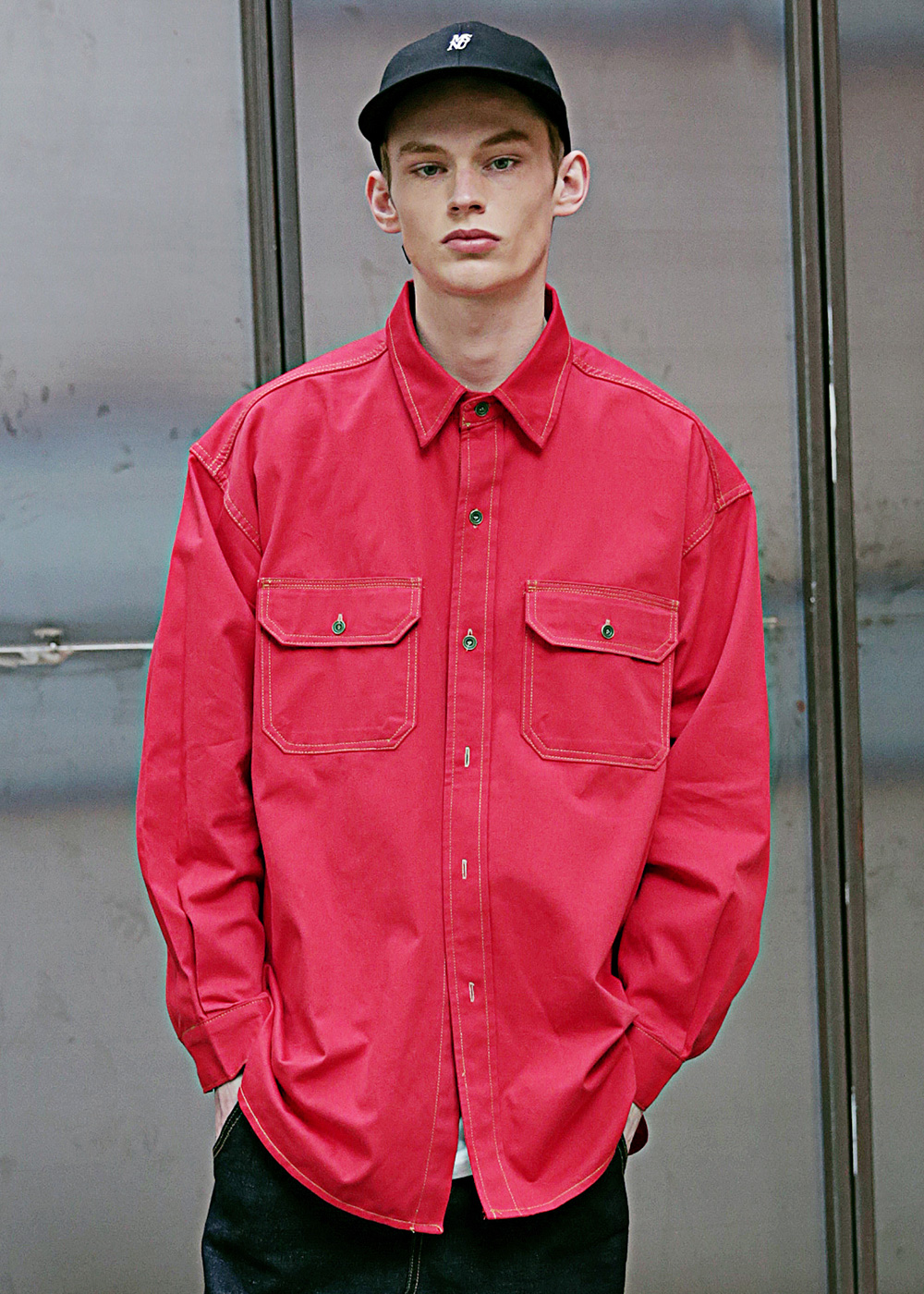 STITCH LINE OVERSIZED SHIRTS MSEST002-RD