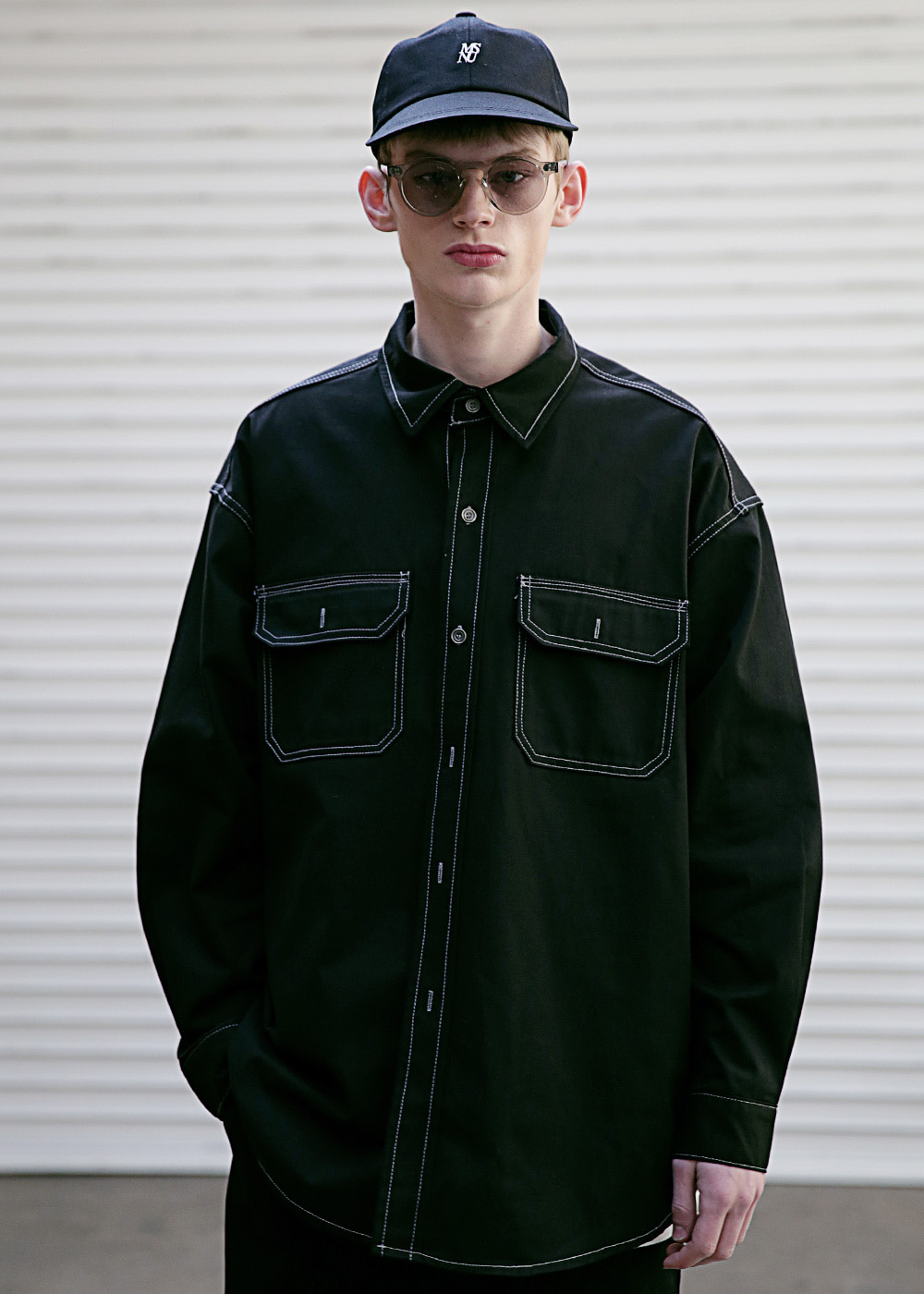 STITCH LINE OVERSIZED SHIRTS MSEST002-BK