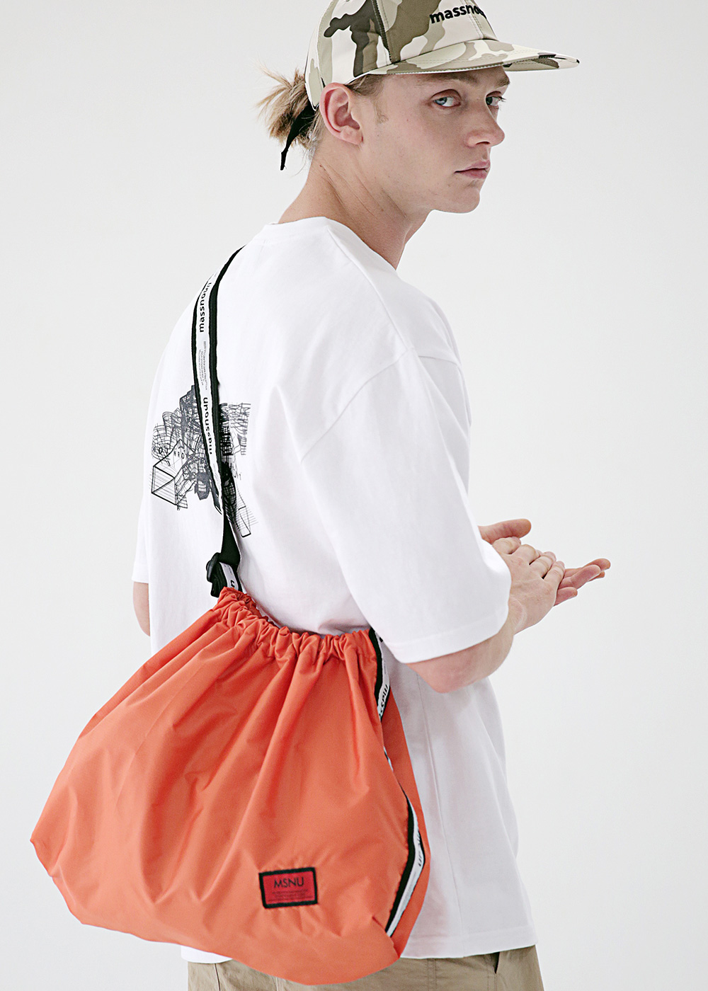 LINE SL LOGO NYLON SHOULDER BAG MSEAB003-OR