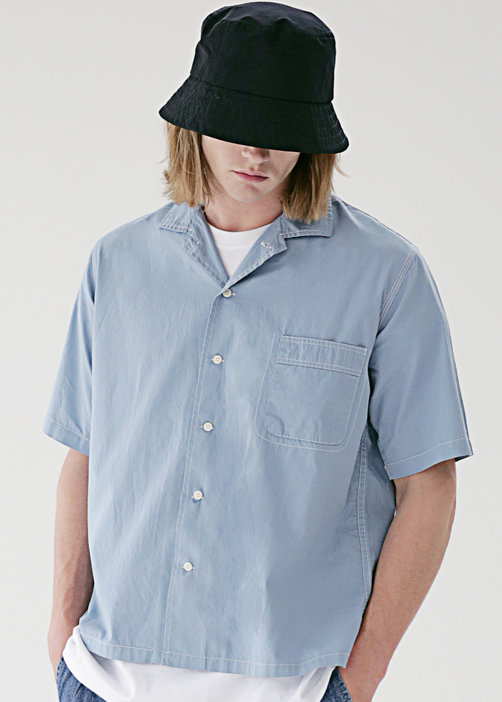 STICH LINE POCKET BASIC SHIRTS MSEST009-BL