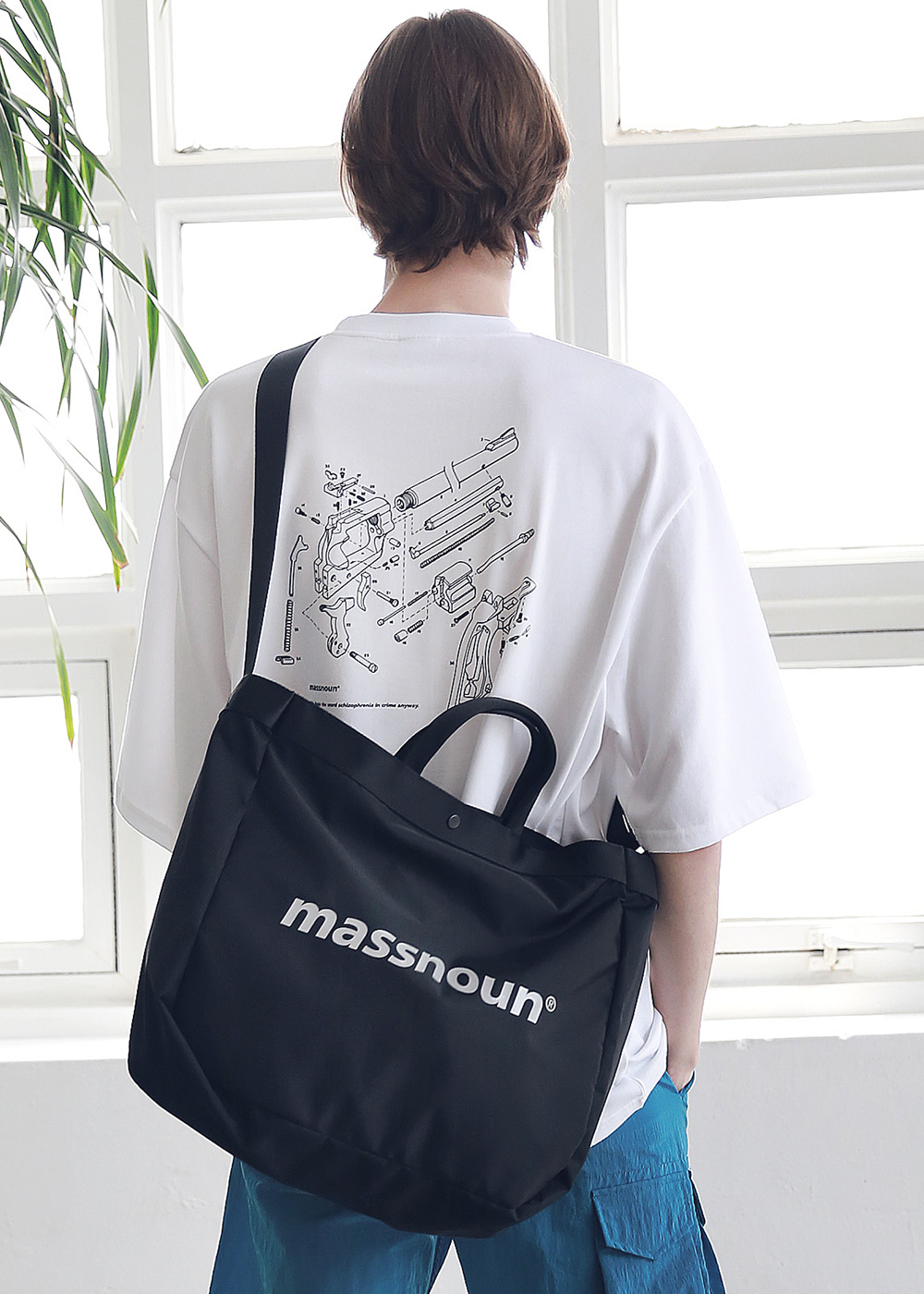 SL LOGO 3M 2WAY SHOULDER BAG MSNAB002-BK