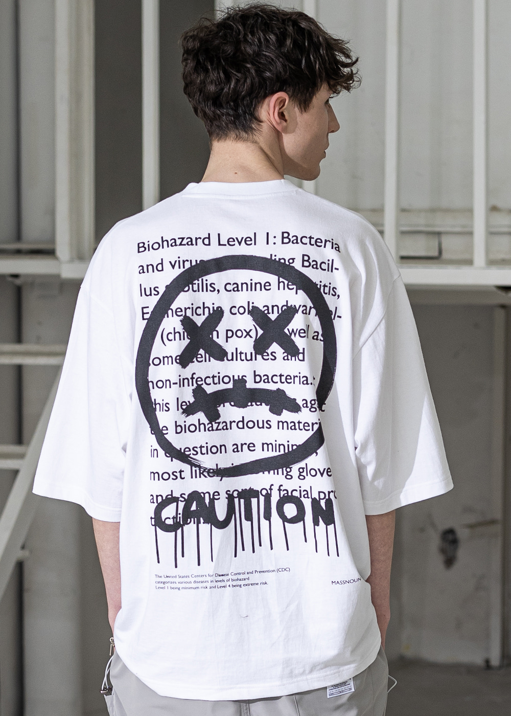 CAUTION SMILE OVERSIZED T-SHIRTS MSZTS003-WT