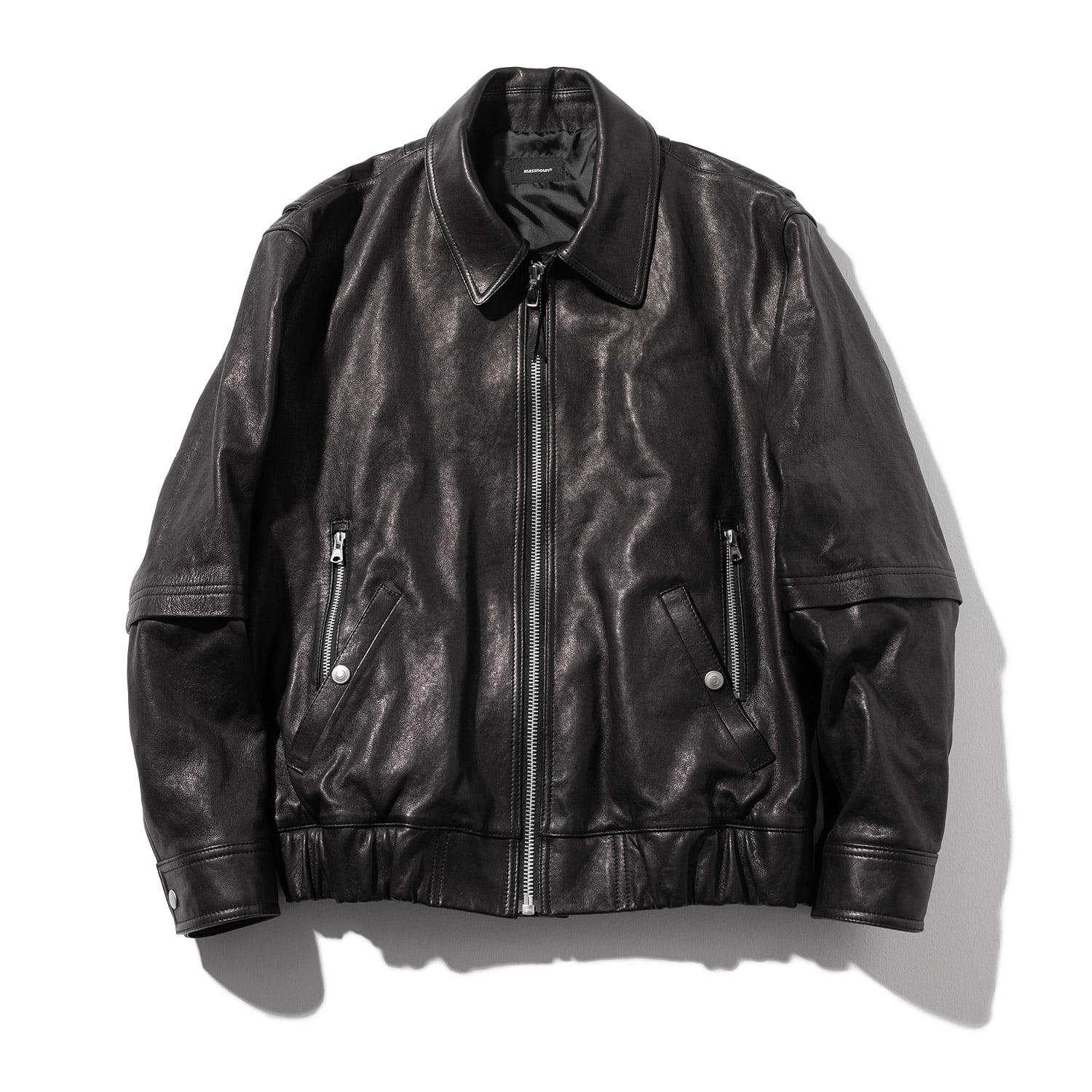 LAMBSKIN VEGETABLE DOUBLE POCKET BLOUSON MFZJK003-BK