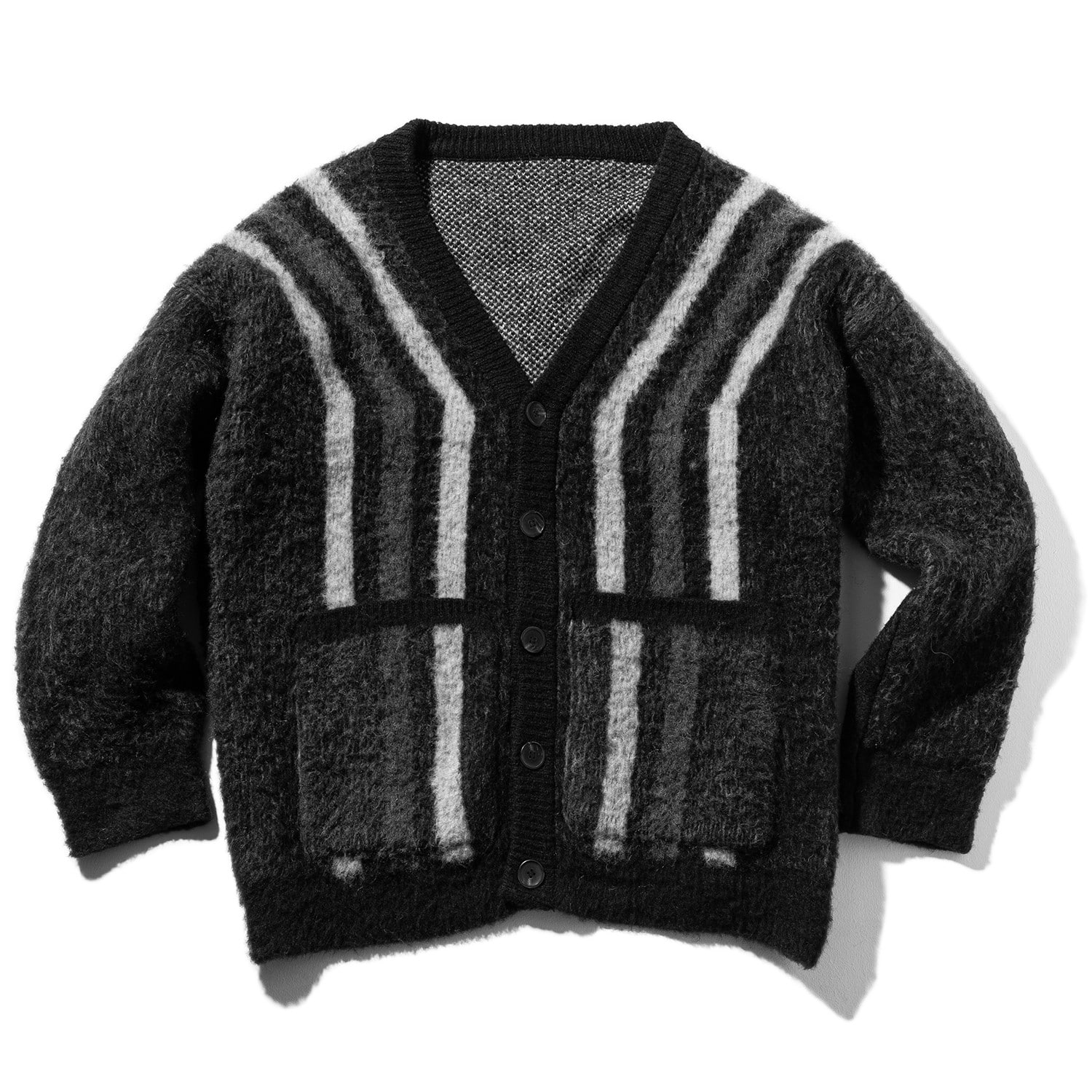 STRIPES WOOL MOHAIR CARDIGAN MWZCD001-GY