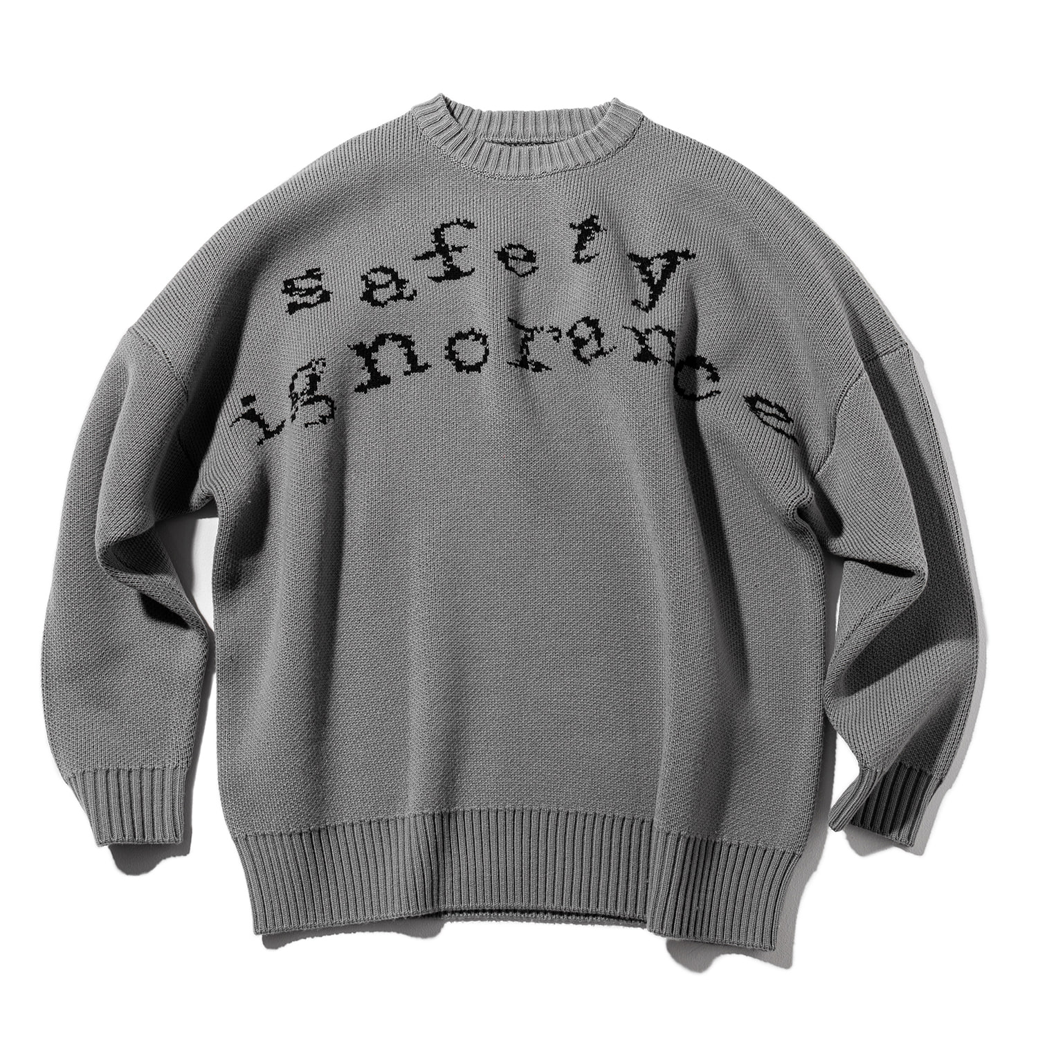 SAFETY LETTERING WOOL KNIT MWZNT001-GY