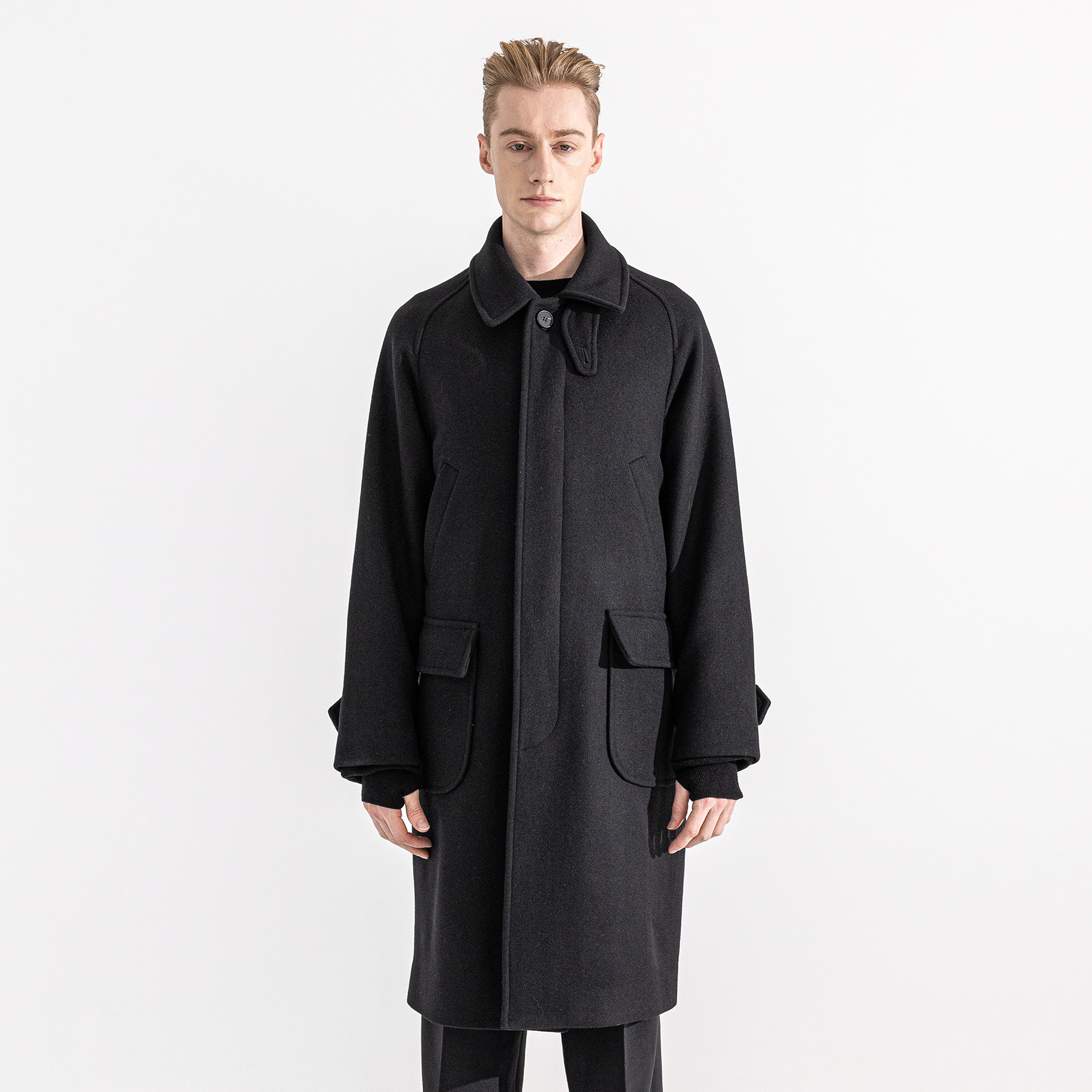 WEBPOCKET HIDDEN SNAP BALMACAAN WOOL COAT MWZCT004-BK