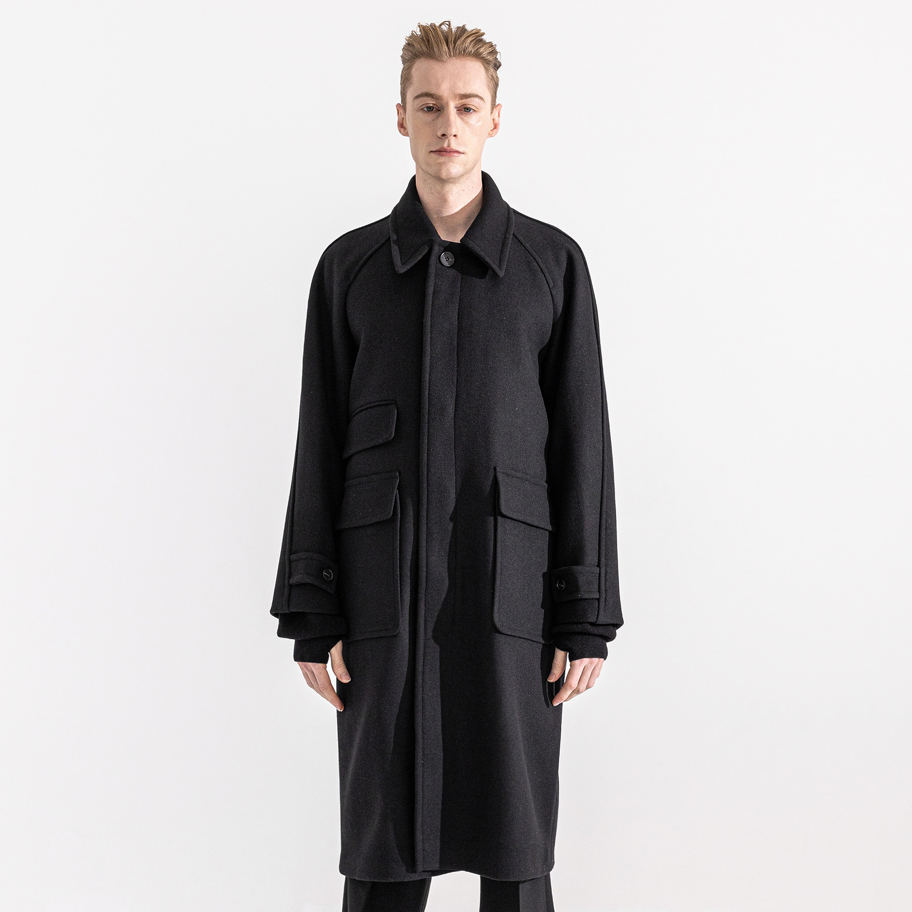 THREE WEBPOCKET BALMACAAN WOOL COAT MWZCT003-BK